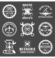 set drone logos badges emblems and design vector image