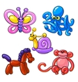 Set of balloon animals - horse octopus monkey vector image vector image