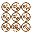 Set of vintage icons with coffee beans vector image vector image
