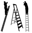 silhouette worker climbing the ladder on white vector image vector image