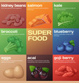 superfood icons set cartoon vector image vector image