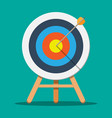 target on wooden tripod with arrow in cente vector image vector image