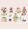 vegan and recycle stickers vegetarians cook and vector image vector image