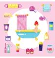 Bath supplies hygiene accessories cosmetics etc vector image