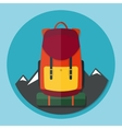 Backpack with mountains flat style vector image