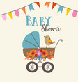 cute baby shower invitation or birthday card with vector image