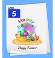A calendar showing the 5th of April