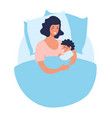 a young mother sleeps with newborn baby joint vector image