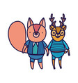 back to school education deer and squirrel vector image vector image