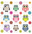 Background with cute textured owls vector image vector image