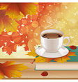 Background with hot coffee and autumn leaves vector image vector image