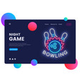 bowling neon creative website template design vector image vector image
