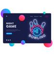 bowling neon creative website template design vector image