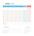 calendar planner for april 2018 vector image vector image