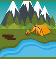 camping zone with tent and campfire vector image