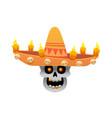 cartoon mexican sugar skull for dia vector image vector image