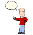 cartoon tough guy pointing with thought bubble vector image