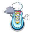 chef with food cartoon sneaker with rubber toe vector image
