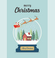 christmas glass ball with santa sleigh and winter vector image vector image