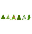 christmas tree different paper origami elements vector image