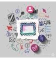 collage with icons background vector image vector image