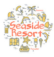 colorful icons in set for seaside resort holidays vector image vector image