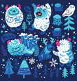 cute cartoon style yetis and woodland elements vector image