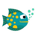 cute fish with bubbles vector image vector image