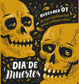 day dead poster mexican sugar skull vector image