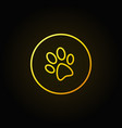 dog paw print yellow icon vector image vector image
