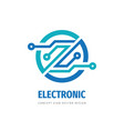 electronic digital logo design computer chip sign vector image vector image