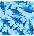 fish sword pattern on turn blue vector image vector image