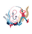 fishing sport or hobman with rod and hook vector image vector image