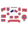 flag norway big set icons and symbols vector image vector image