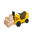 Forklift Truck Loading A Stack of Shipping Box vector image vector image