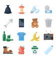 garbage set cartoon vector image vector image