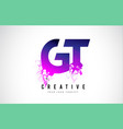 gt g t purple letter logo design with liquid vector image vector image