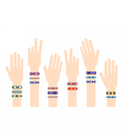 Hands with hippy friendship bracelets vector image