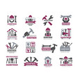 handyman badges builders and workers contractor vector image vector image