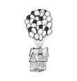 house is flying on air balloons sketch engraving vector image