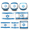 Israel flag on different objects vector image vector image