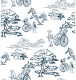 japanese sketch design background hand drawn ink vector image