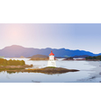 Lighthouse on fjord coast vector image vector image