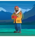 Man with logs in the winter mountains vector image vector image