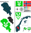 Map of Oppland vector image vector image