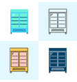 merchandising refrigerator icon set in flat and vector image vector image