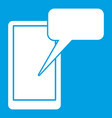 mobile chatting icon white vector image vector image