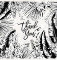 monochrome greeting card of tropical leaves vector image