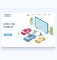 open air cinema website landing page design vector image vector image