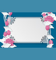 oriental pattern frame with pink lotus flowers vector image vector image